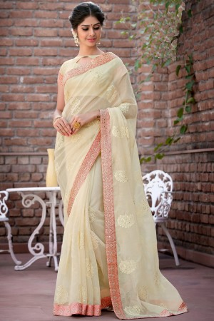 Paaneri Designer Super Net Beige Color With Butti Print Embroidery Border Saree -Product Code-17120007516