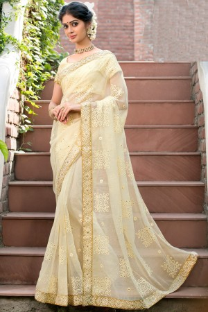 Paaneri Designer Super Net Beige Color With Floral Print Embroidery Border Saree-Product Code-17120007816